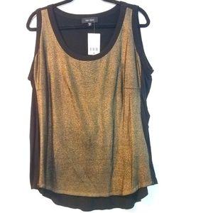 2X Karen Kane Gold Shimmer Knit Tank Top NWT